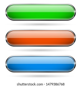 Colored glass 3d buttons with chrome frame. Oval icons. Illustration isolated on white background. Raster version