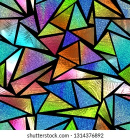 Colored glass seamless texture with triangular pattern on black background, stained glass,  3d illustration