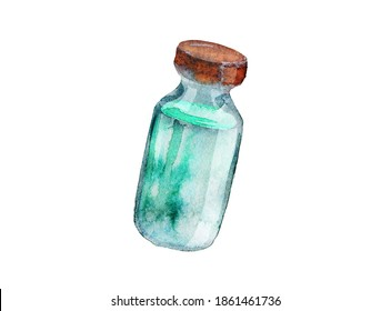 Colored hand drawing illustration Glass test tube with liquid isolated on white bckground
