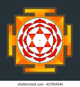 colored hinduism Bhuvaneshwari yantra Prakriti illustration sacred diagram isolated on black background