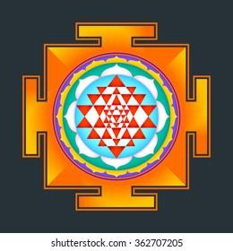 colored hinduism Sri yantra Sri Chakra illustration triangles diagram isolated on black background