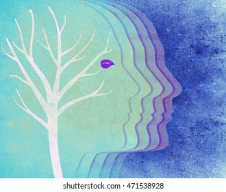 colored human head silhouette and tree digital illustration