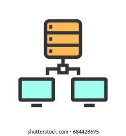 Colored icon of the connection between computers and server.