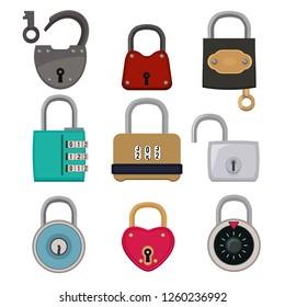 colored icon set of padlocks