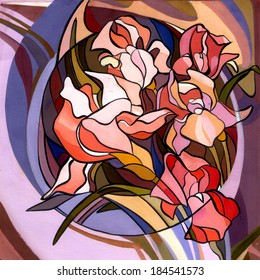 Colored illustration of flowers in the Art Nouveau style, modern. Gouache and acrylic painting resembles stained glass. Bright colors and black stroke, coloring