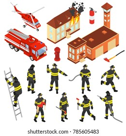 Colored isometric fire department icon set with attributes to extinguish a fire and firefighters  illustration