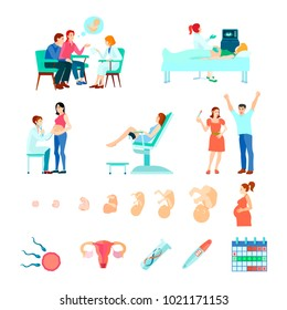 Colored isometric midwifery obstetrics gestation icon set with stages of pregnancy and seeing a doctor  illustration