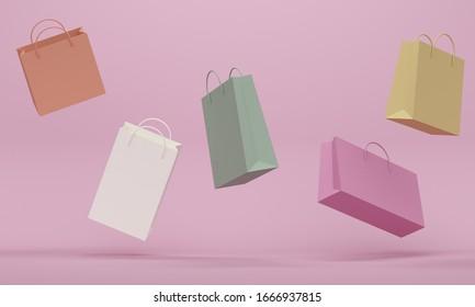 Des paquets de lévitation colorée.Arrière-plan abstrait rose. Rendu 3d