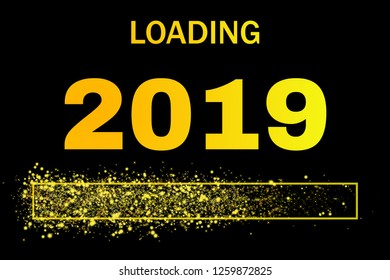 colored loading bar with glitter for the year 2019