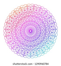 Colored mandala with a gradient of color on a white background. Symmetrical pattern.