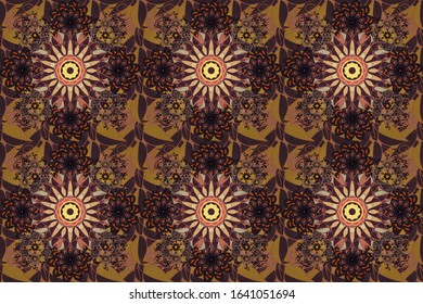Colored mandala logo on orange, purple and brown colors. Sacred geometric raster symbol with many petals flower.
