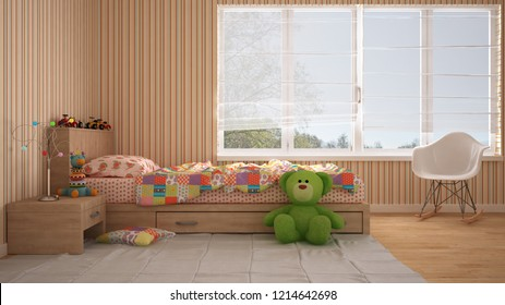 Colored modern child bedroom with single bed, toys and panoramic window, pastel colorful interior design, 3d illustration