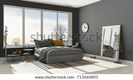 Colored Modern White And Gray Bedroom With Big Panoramic Window, Sunset,  Sunrise, Architecture