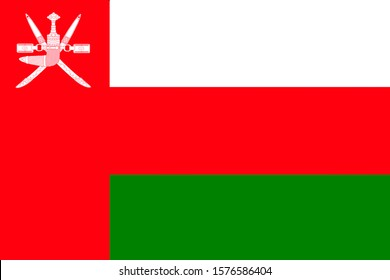 colored national flag of the modern state of Oman, concept of tourism, economy, politics, emigration, closeup