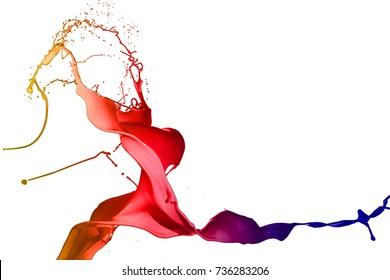 Colored paint splashes isolated on white background.