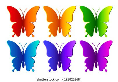 Colored paper realistic butterflies isolated on white background. Silhouette of a butterfly is perfect for stickers, icons, greeting cards and gift certificates