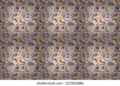 Colored patterns antique. Floral ornament in brown, white and pink colors. Raster seamless background.