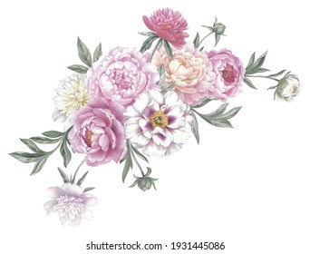 Colored pencil arrangement with peonies. Isolated on white background. Floral vintage bouquet. Hand drawn botanical illustration for greeting cards, wedding invitation cards and summer backgrounds.