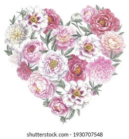 Colored pencil bouquet of peonies. Isolated on white background. Floral heart. Hand drawn botanical illustration for greeting cards, wedding invitation cards and summer backgrounds.
