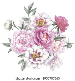 Colored pencil bouquet of peonies. Isolated on white background. Floral vintage arrangement. Hand drawn botanical illustration for greeting cards, wedding invitation cards and summer backgrounds.