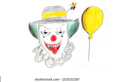 A colored pencil drawing of a clown skull wearing a hat and a yellow balloon. Clown skull on a white background
