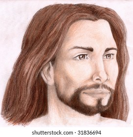 Colored Pencil Sketch of Christ, looking to the left side