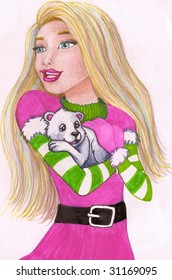 Colored pencil sketch of a young beautiful blond girl holding a young polar bear cub.