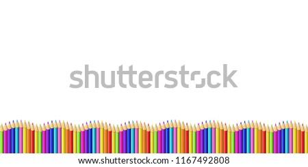 colored pencils down line shape wave stock illustration 1167492808