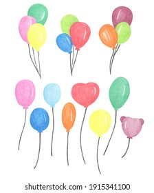 Colored pencils drawing Colorful Air Ballons Party illustration
