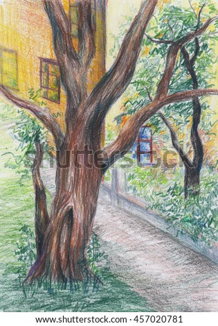 colored pencils free hand drawing tree stock illustration 457020781