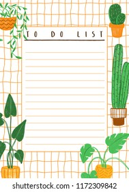 Colored pencils hand-drawn colorful to do list template with house plants. Warm colors paper blank with succulents and other plants in naive childlike style.