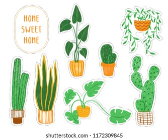 Colored pencils hand-drawn colorful illustration objects with house plants. Warm colors clip art with succulents and other plants in naive childlike style.