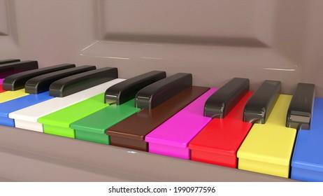 Colored piano keys, symbolizing inclusion, tolerance, acceptance. A concept 3d render.