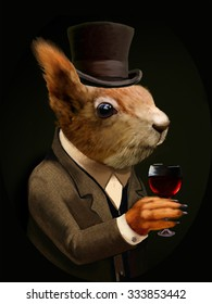 Colored Portrait of Dandy Squirrel with Glass of Wine and Top Hat. Sophisticated animal. Intelligent Squirrel in a suit in Vintage Style, Retro Chic. T-shirt print