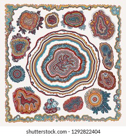 Colored with precious stones and minerals. For textile printing.