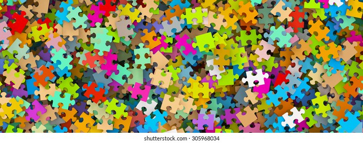 Colored Puzzle Pieces Heap Panorama - JigSaw - Illustration