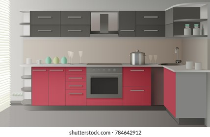 Colored and realistic modern kitchen interior with drawers shelves oven light colors  illustration