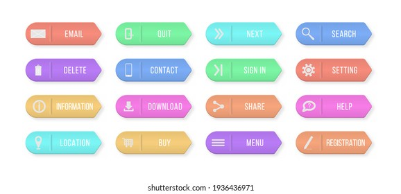 Colored rectangular web buttons contact us isolated on white background. Design elements for website or app.