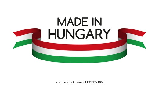 Colored ribbon with the Hungarian tricolor, Made in Hungary symbol, Hungarian flag isolated on white background, modern illustration