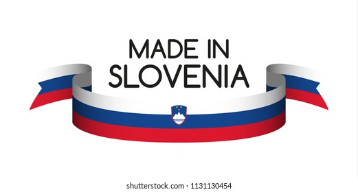 Colored ribbon with the Slovenian tricolor, Made in Slovenia symbol, Slovenian flag isolated on white background