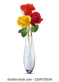 Colored Roses in a glass vase, isolated. Realistic 3d illustration
