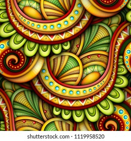 Colored Seamless Pattern with Ethnic Motifs. Endless Texture with Abstract Design Element. Khokhloma, Gypsy, Paisley Garden Style. Realistic Glossy Ornament. 3d Illustration. Ornate Abstraction