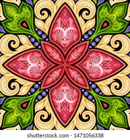 Colored Seamless Pattern with Mosaic Motif. Endless Floral Texture in Paisley Indian Style. Tile Ethnic Background. Realistic Complex Ornament. 3d Illustration. Abstract Mandala Art