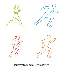 Colored silhouettes of runners. Line figures marathoner. Linear running symbol.
