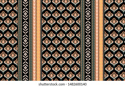 Colored simple geometric allover border ornament. Tiny floral moroccan trellis seamless design. Vintage folk print for wear fabric, apparel textile, garment. Ethnic pattern border and tiny pattern