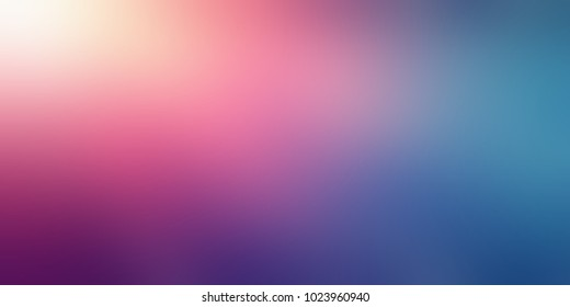 Colored sky toned banner. Pink, yellow, blue, green empty background. Sunshine blurred texture. Gradient abstract illustration. Ombre defocused pattern.