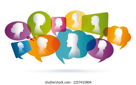 Colored Speech bubble. Crowd talking. Group of people talking. Communication between people. Profile silhouette
