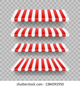 Colored striped awnings set for shop, restaurants and market store on transparent background.  stock illustration.