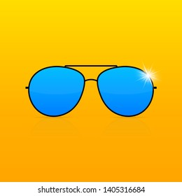 Colored Sunglass frame isolated on white background. stock illustration.