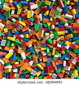 Colored toy bricks background. 3D Rendering.